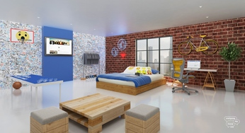 Facebook themed bedroom